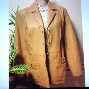 St John Sport 2 Pocket Leather Collar Jacket Sz M
